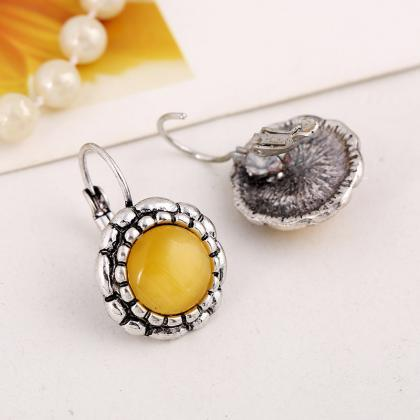 Yellow Sun Flower Earrings,Retro Op..