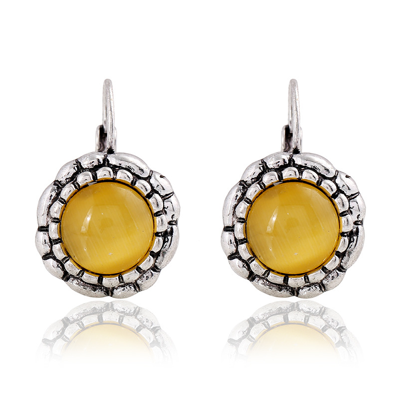 Yellow Sun Flower Earrings,Retro Opal Earrings,Drop Earrings