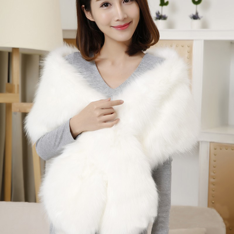 White Fur Stole >> White Bridal Wrap Faux Fur Wedding Long Rectangular Faux Fur Shawl