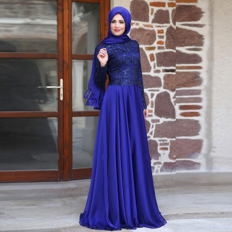Royal Blue Evening Dresses.A-line Muslim Kaftan Abaya Party Dresses ...