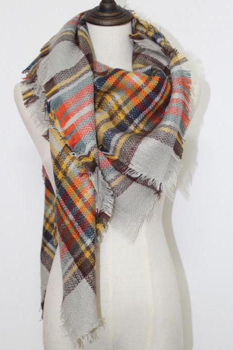 2015 Women Winter Warm Large Cashmere Plaid Wrap,Unisex Acrylic Wrap Cashmere Scarves,Shawl Pashmina for Spring Fall 140x140CM,Winter Oversize Plaid New Designer Blanket Scarves