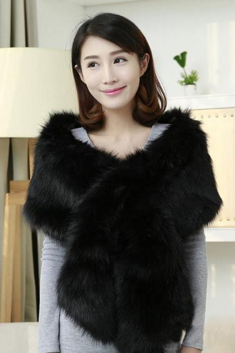 Black Winter Faux Fur Wrap,Faux Fur Shawl Wrap Stole Cape for Women,Warm Faux Fur Wedding Shawl ,Long Rectangular shape Faux Fur Shawl Party