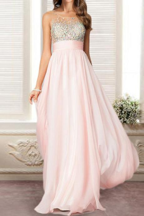 Pink Floor-length Chiffon Prom Dress with Iridescent Beaded Bodice