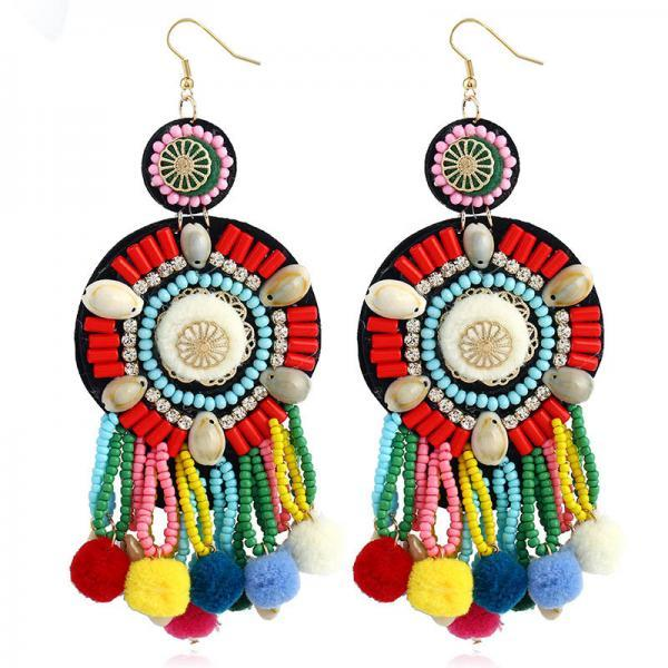 Colorful Bohemian Tassel Earrings, Dangle Drop Tiered Tassel Earrings Women Gifts